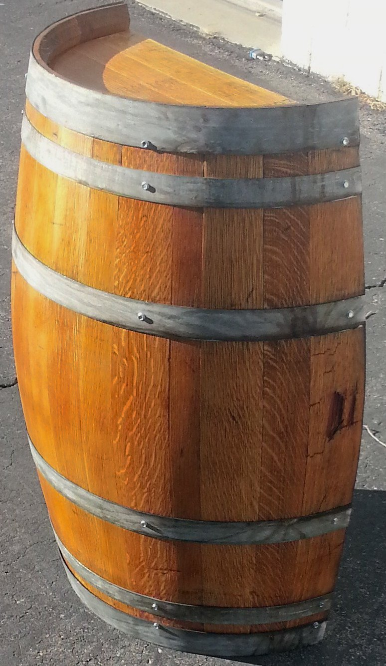 Real Half Wine Barrel Stand or Planter - Clean Oak (Stained) by MR-UTAH.com