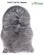 Laine Tapis 60 x 90 cm Faux Peau de Mouton Imitation Toison Moquette Peau d'agneau Tapis Fluffy Soft Longhair Décoratif Coussin de Chaise Canapé Natte