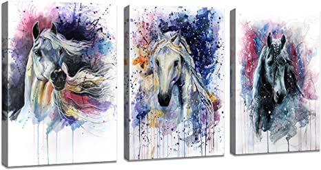 Amazon Com Dzl Art D70234 Canvas Wall Art Horse Animal Painting Prints On Canvas Framed Ready To Hang 3 Panels Watercolor Horses Prints Fine Art For Home Wall Decor Posters Prints