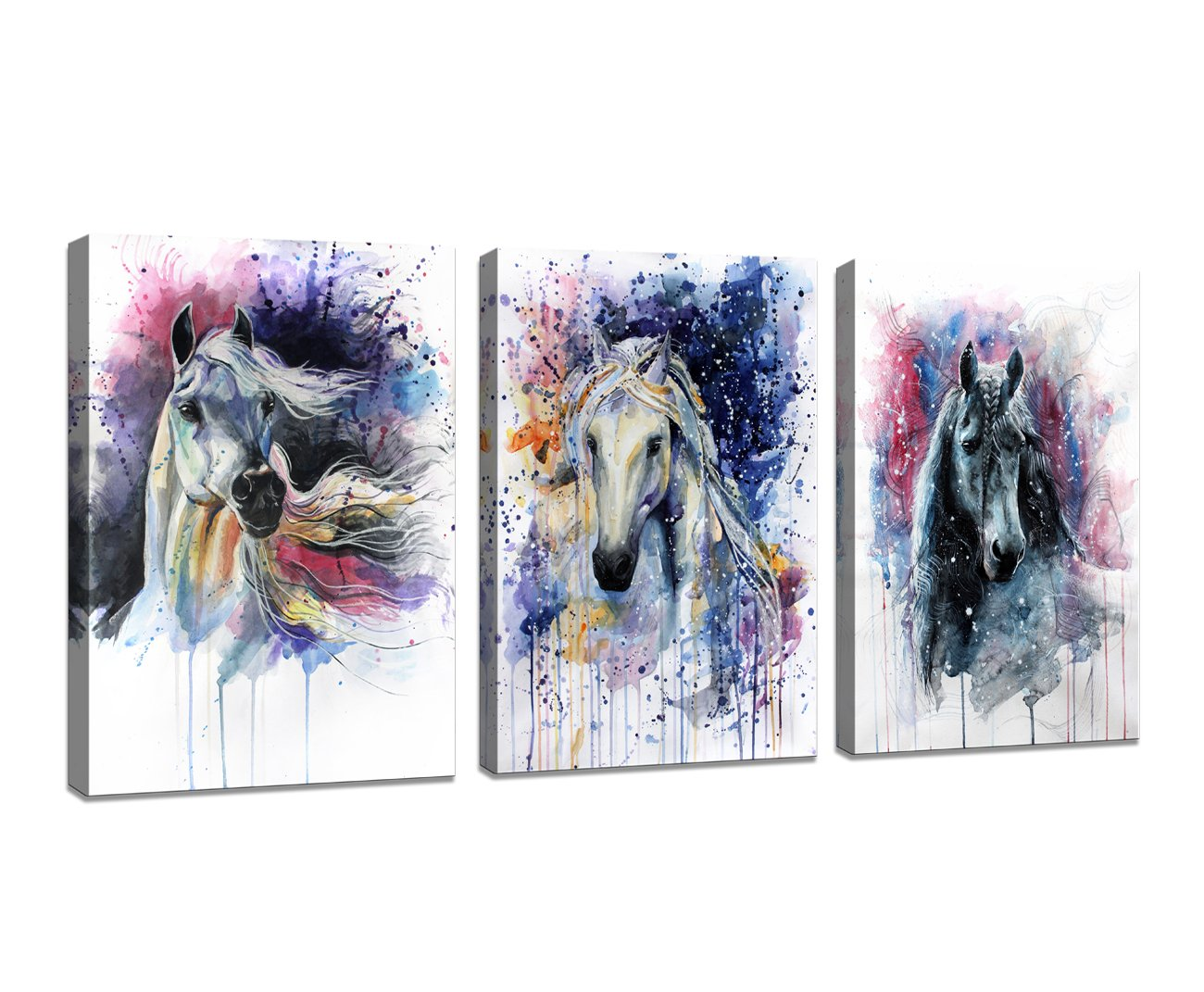 DZL Art D70234 Canvas Wall Art Horse Animal Painting Prints on Canvas Framed Ready to Hang-3 Panels Watercolor Horses Prints Fine Art for Home Wall Decor
