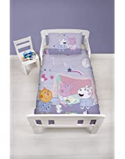Peppa Pig Official Junior Toddler Cot Duvet Cover   Purple Sleepy Sleepover Design   Children's Kids Bedding Set & Pillowcase, Pink