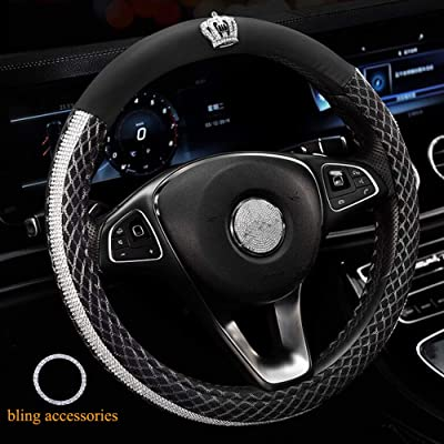 ALVAZA Girly Diamond Crown Steering Wheel Cover with Bling Bling Crystal Rhinestones Anti-Slip Breathable Steering Cover for Women Girls Vehicles 15 Inch Universal + Free Bling Ring: Automotive
