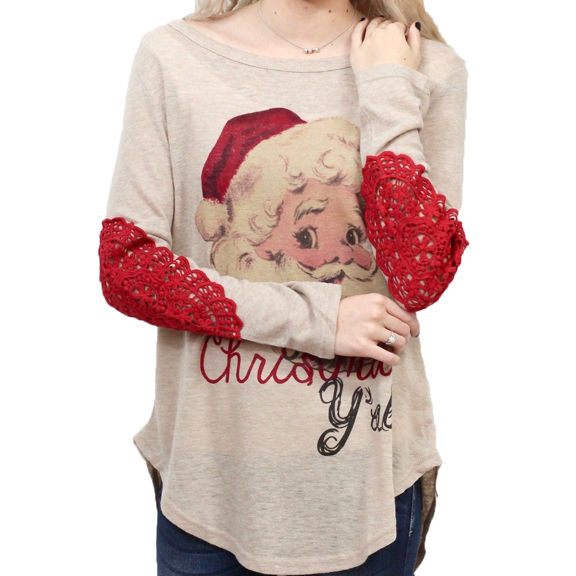 Diconna Xmas Family Clothing Matching Mother And Daughter Clothes Lace Elbows Blouse