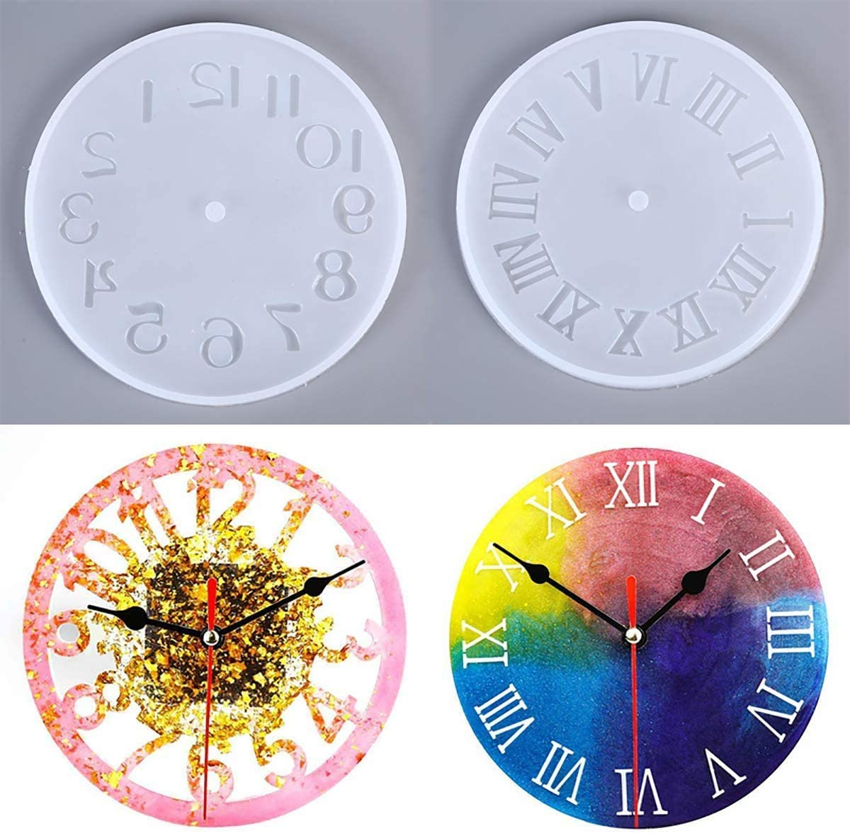 ZHIHU 4 pcs Clock Resin Mold Roman Numerals Constellation Silicone Mold Handmade DIY Epoxy Silicone Resin Molds for Jewelry Making Tools