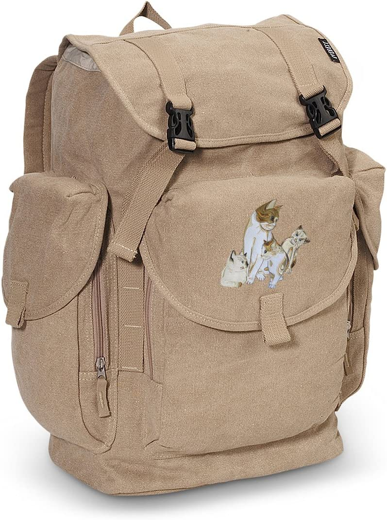 Cute Cats LARGE Canvas Backpack Kitten School or Travel Bag