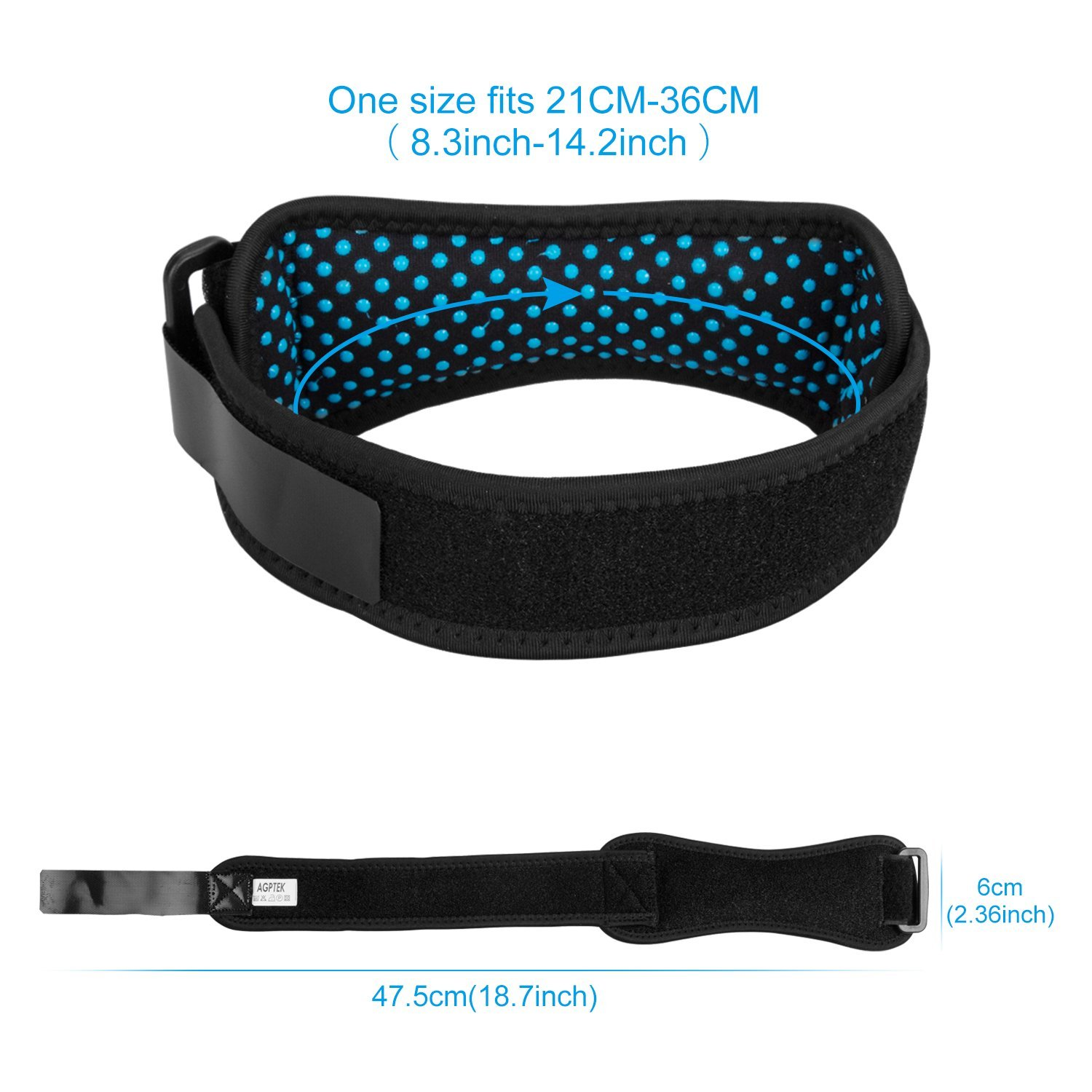Black Anti-slip Knee Pain Relief Band with Silicone Pad for Basketball Volleyball Running Hiking AGPTEK 2 Pack Patella Knee Strap Tennis etc