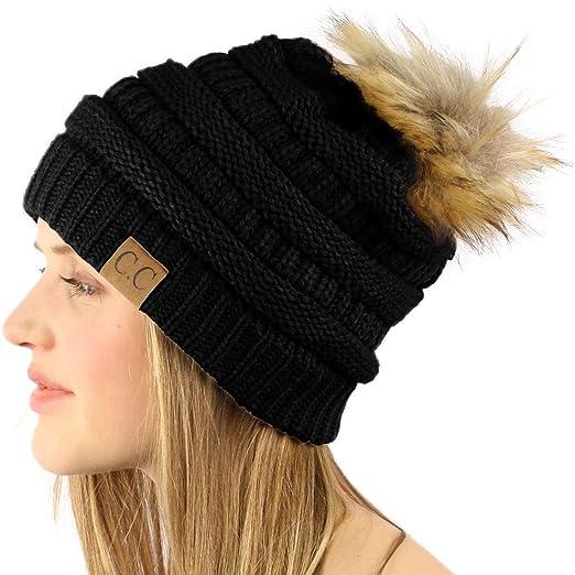 SK Hat shop Soft Chunky Thick Knit Faux Fur Pom Pom Slouch Beanie Skull Ski  Hat bc570af6ec