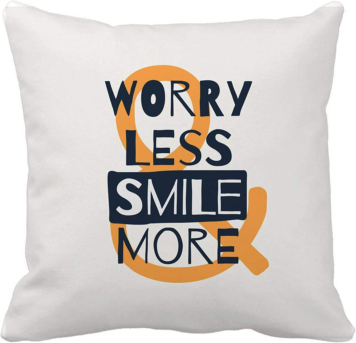 Amazon Com Awowee Throw Pillow Cover Believe Worry Less Smile More Motivational Quote Black Cry 16x16 Inches Pillowcase Home Decorative Square Pillow Case Cushion Cover Home Kitchen