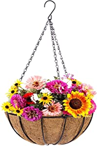 Metal Hanging Planter Basket with Coco Coir Liner, 12 Inch Round Wire Plant Hanging Basket with Chain, Porch Decor Flower Pots Hanger Garden Decor Indoor Outdoor Watering, Garden Hanging Flowers Wall