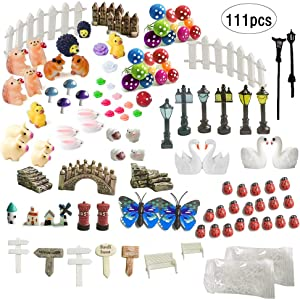 INHEMI 111 Pieces Fairy Garden Accessories Miniature Ornaments Kit for DIY Fairy Garden Dollhouse Decoration
