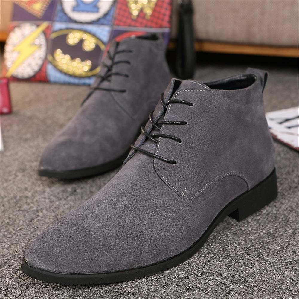 YAJIE-Stiefel, YAJIE-Stiefel, YAJIE-Stiefel, Men's Casual Solid Farbe für Spitze Zehe Mode Stiefeletten Schnürung High Top Stiefel (Farbe   Grau, Größe   44 EU) 920f38