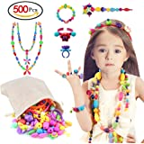 Pop Beads, 500 PCS Pop Arty Snap Together Beads for Kids Toddlers Creative DIY Jewelry Set Toys - Making Necklace, Bracelet and Ring - Ideal Christmas & Birthday Gifts for 3, 4, 5, 6, 7 Year Old Girls