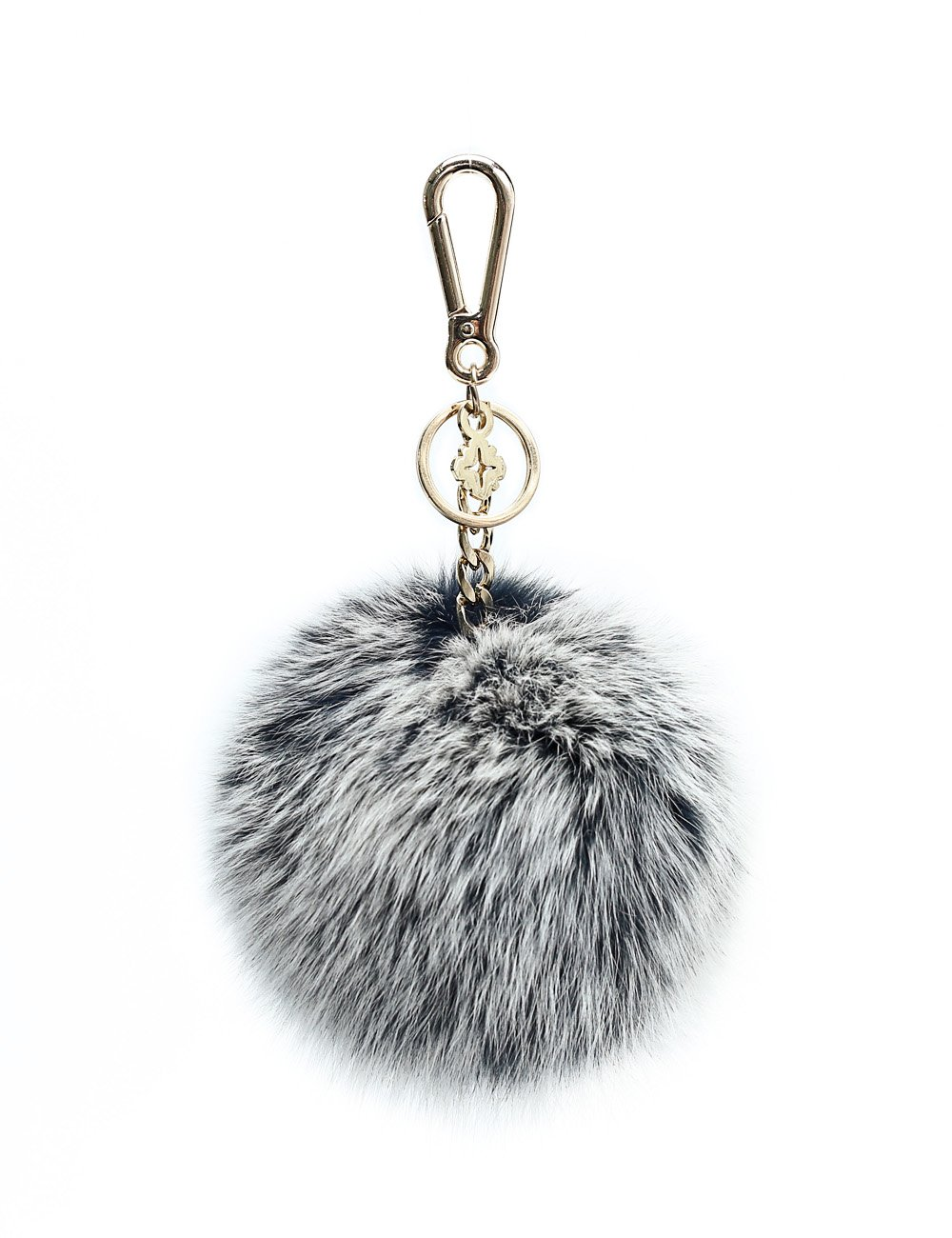 Pompom Keychain Puff Ball in Genuine Fox Fur by Miss Fong Bag Charm Gold Ring Fur Ball