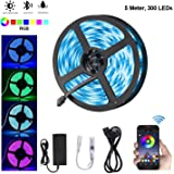 Elead LED Strip Light Smart Bluetooth SMD LED 5050 RGB Decoration Lights 300 LED 5 Meters Colorful TV Backlighting Waterproof Rope Lighting Sync to Music for Home Kitchen Bedroom Desktop Hotel Outdoor