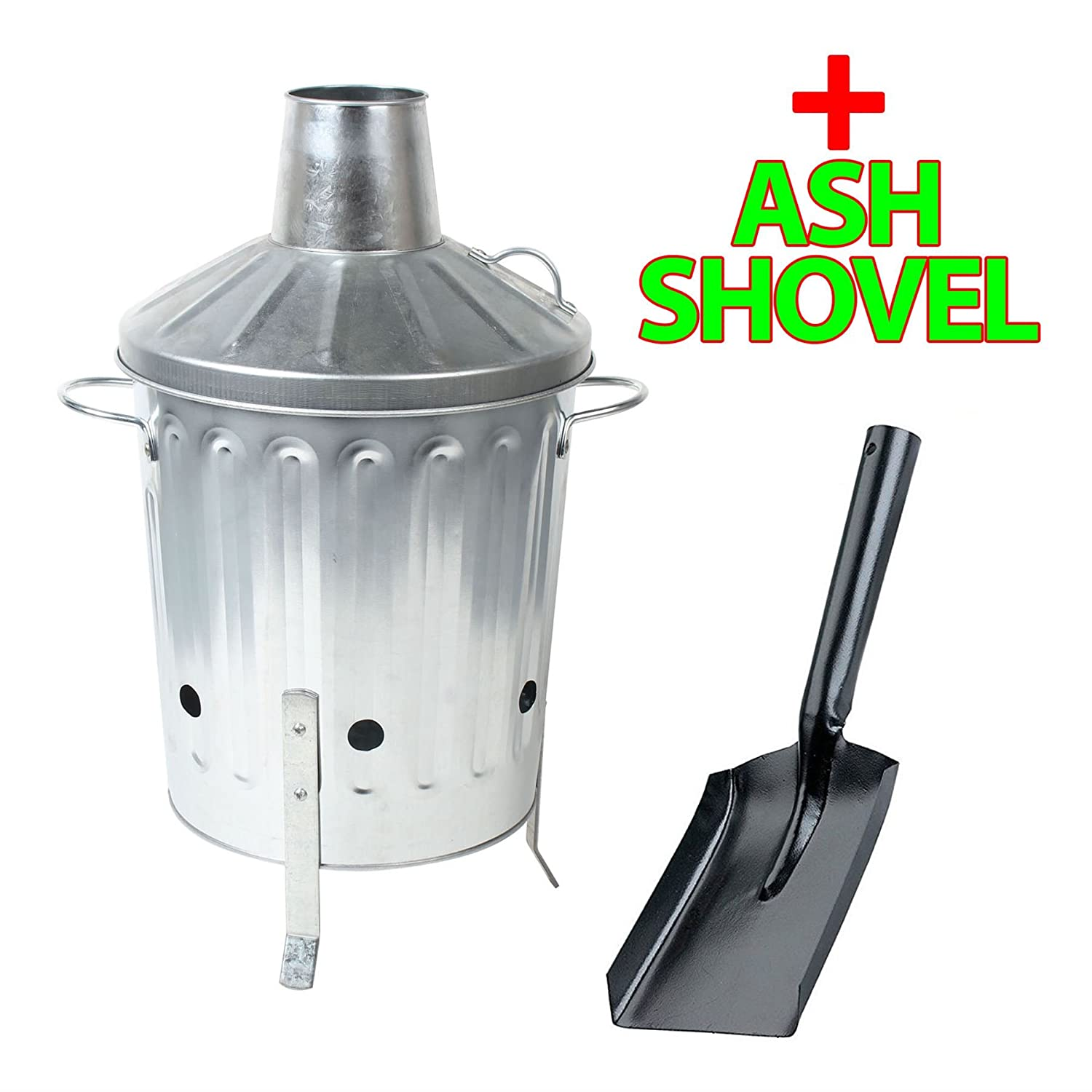 CrazyGadget® 15L 15 Litre Galvanised Metal Incinerator Mini Garden Fire Bin & ASH SHOVEL for Burning Wood, Leaves, Paper etc