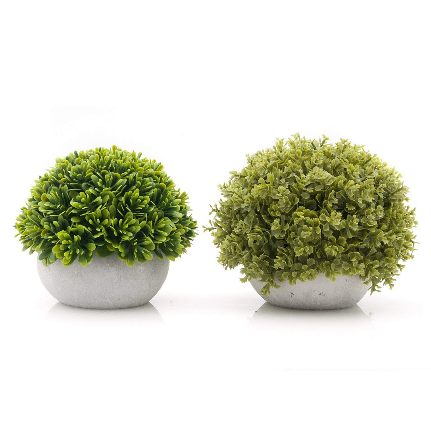 Velener Mini Artificial Green Grass Ball in White Cement Pot for Home Decor(Set of 2)