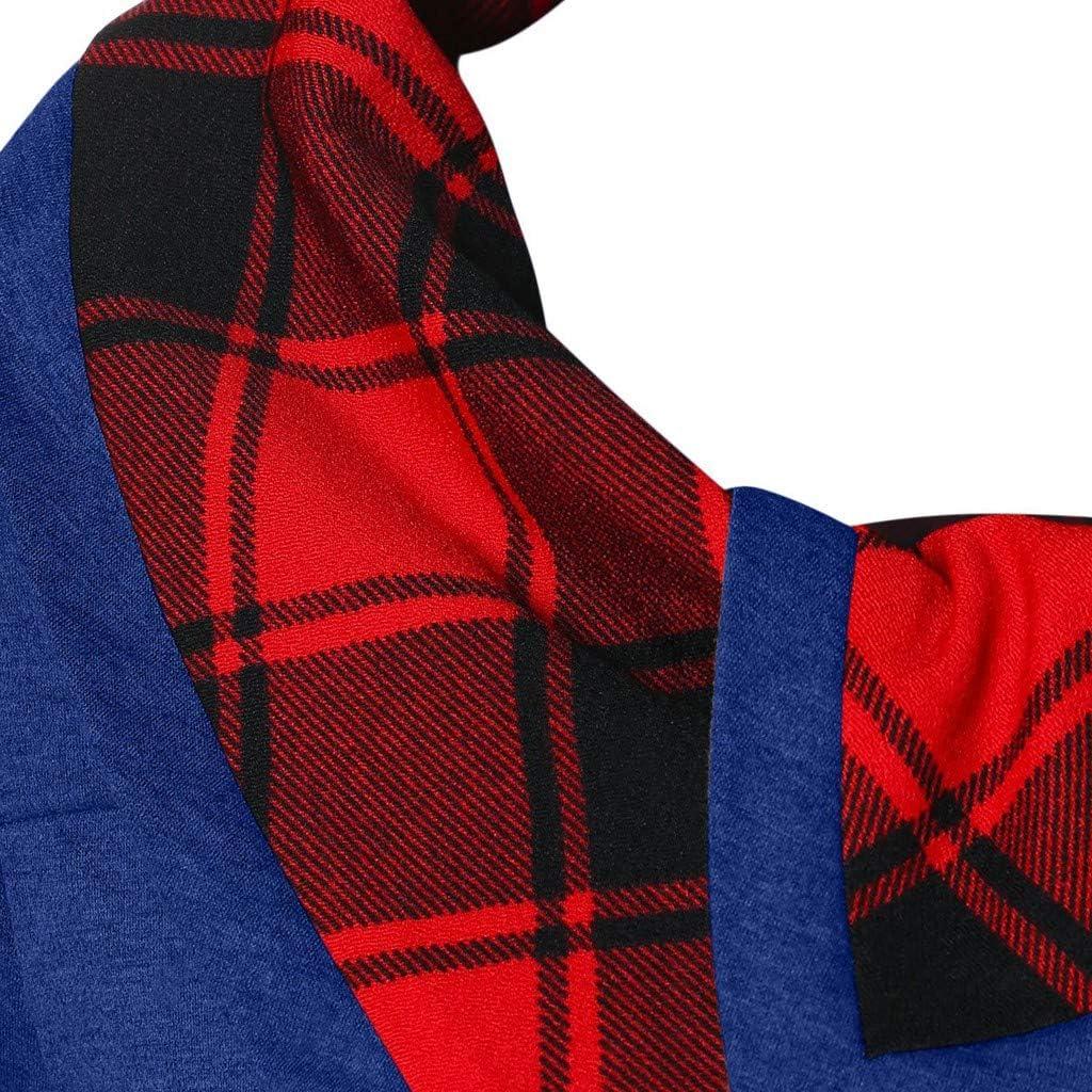 Women Long Sleeve Turtleneck Tartan Tunic Sweatshirt Pullover Tops E-Scenery Plaid Blouse