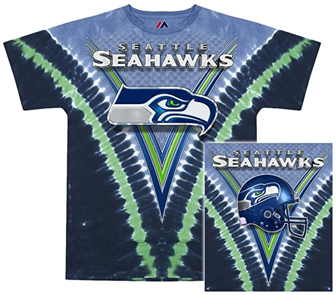 a55ebc32c508 Amazon.com   Seattle Seahawks Logo V Tie Dye T-shirt (X-Large)   Sports Fan T  Shirts   Clothing