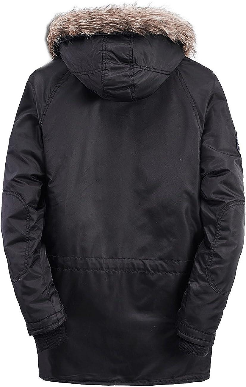 GEAMBO Mens Fur Hooded Down Jacket Detahable Fur Parka Windbreak Heavy Coat