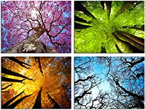 Nachic Wall 4 Piece Canvas Wall Art Spring Summer Autumn Winter Four Seasons Tree Forest Picture Painting Nature Landscape Artwork Giclee Print Gallery Wrap for Bedroom Bathroom Decor 12x16inchx4pcs