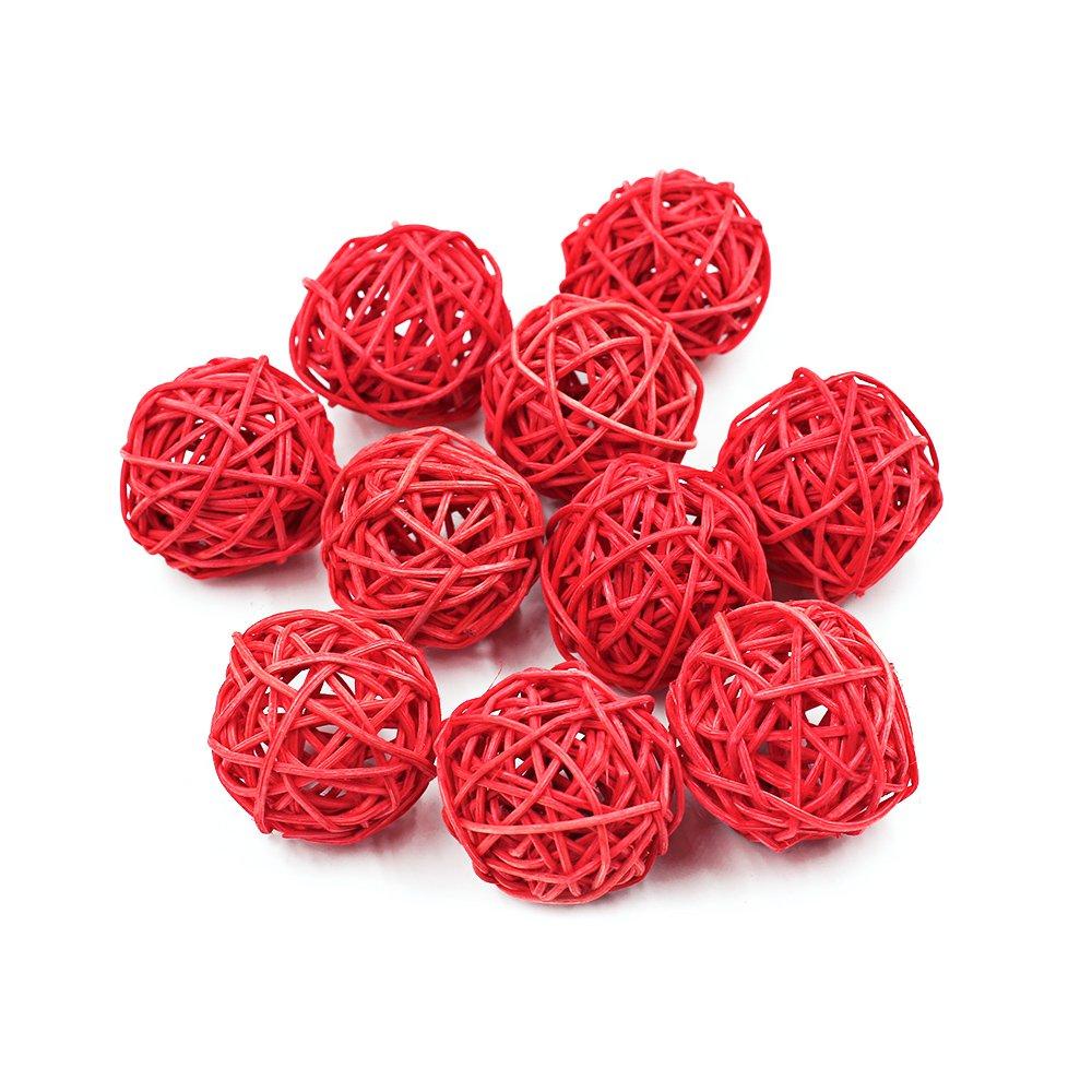Ya Jin Palline decorative multicolore in vimini, 20 pezzi, decorazioni da appendere per matrimoni, Natale, 7cm Coffee