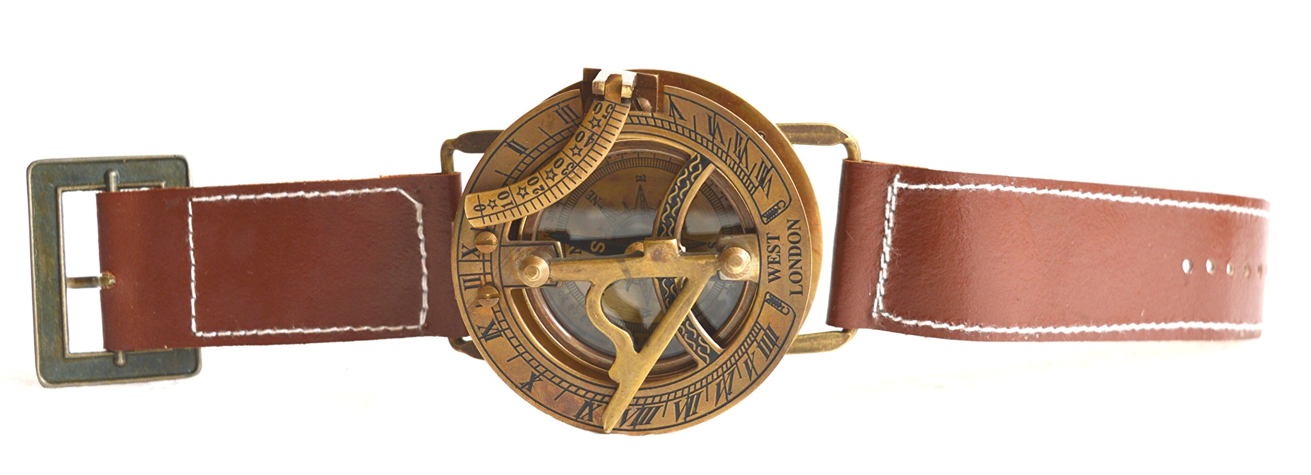 SA International Antique Finish Vintage Style Brass Wrist Watch Compass-Nautical Collectable Sundial Compass-Marine Compass Gift Compass-Nautical Gift
