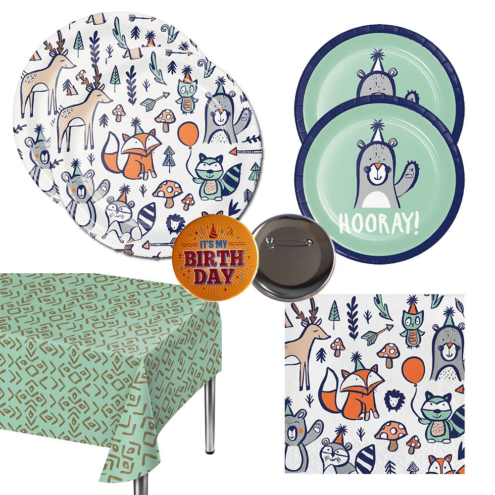 Razzle Dazzle Celebrations Woodland Animals Party Pack for 20 guests - large and small plates, napkins, tablecover