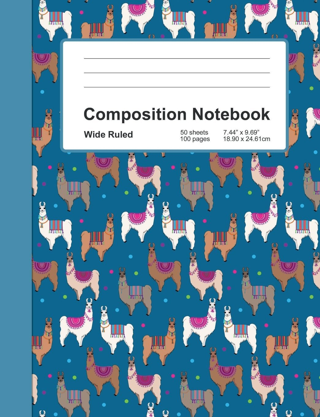 """Read Online Composition Notebook: Llama Pattern - Wide Ruled :: Softcover Book - Home Office, School, Girl Student Teacher, Class Assignments, Writing Paper :: 7.44"""" x 9.69"""" - 100 lined pages -  50 sheets PDF"""