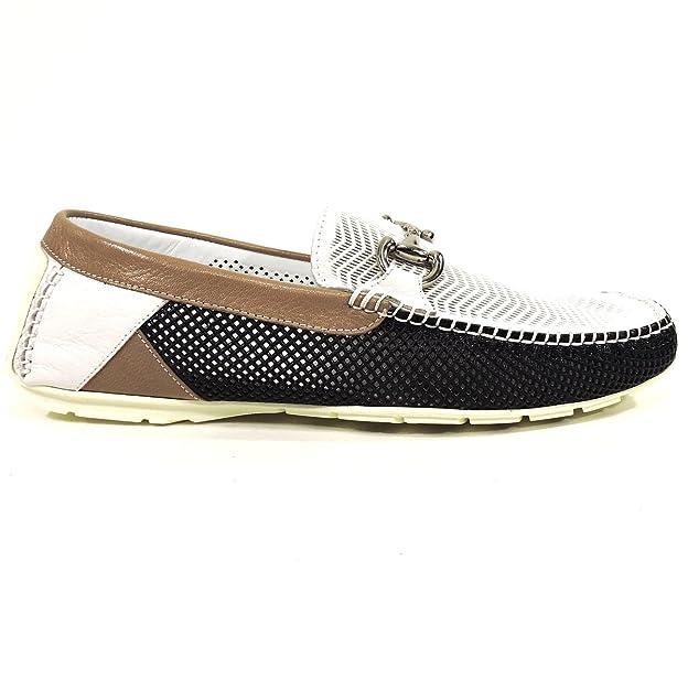 Amazon.com | ALDO BRUE Mens Blue & White Leather Moccasins | Fashion Sneakers