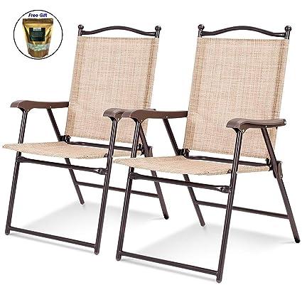Amazon.com: Juego de 2 sillas plegables para patio con ...