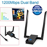 1200Mbps Wifi Adaptor Bositools 11AC 5G Dual Band Wireless USB 3.0 Adapter With Double 6DBi Antenna - Maximum Speed up to 5G 867Mbps or 2.4G 300Mbps-Supports for Windows XP Vista 7 8 MAC Linux