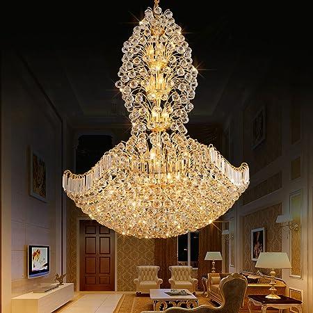 BJ Lámpara de Techo- Piso de Edificio de Cristal Europeo Villa Pisos de dúplex Lámparas de la Escalera Lámpara de Techo de Gran Altura de Lujo histórico de Varios Pisos Luces Pendientes: