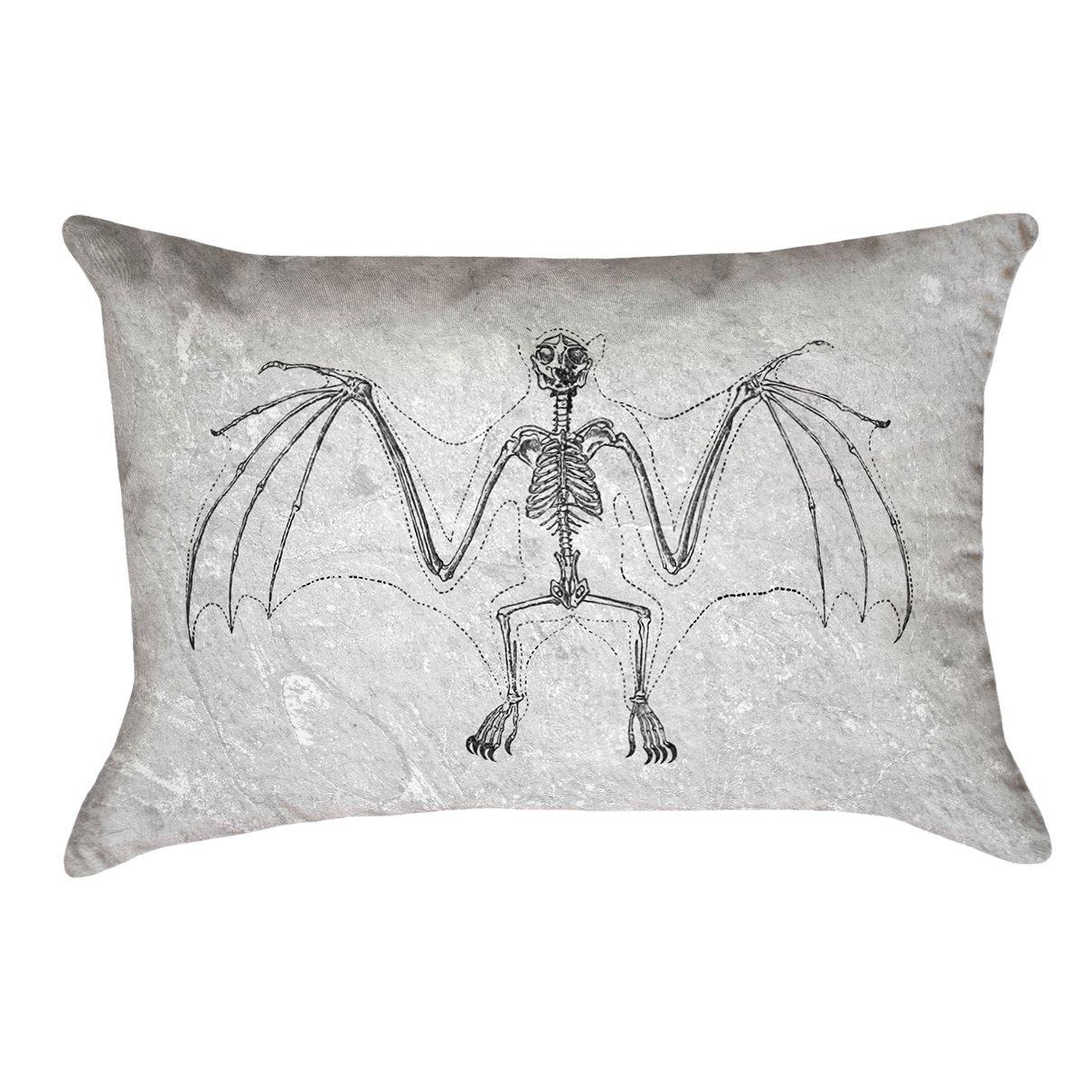 ArtVerse Katelyn Smith 20 x 20 Outdoor Pillows /& Cushions UV Properties Waterproof and Mildew Proof Vintage Bat Skeleton Pillow