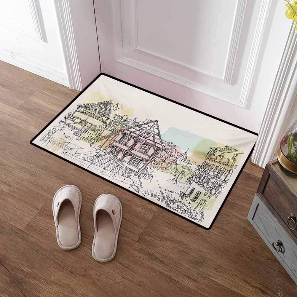 Large Door Mat German Absorbs Moisture Washable Mats Historic Traditional Scene Nuremberg Germany Classical Timber Houses Illustration for Bedroom Kitchen Bathroom Garden Multicolor 30x40 Inch