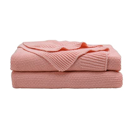 Charmant PICCOCASA 100% Cotton Knit Throw Blanket,Solid Throws Decorative Soft Pink  Knitted Throw Blanket