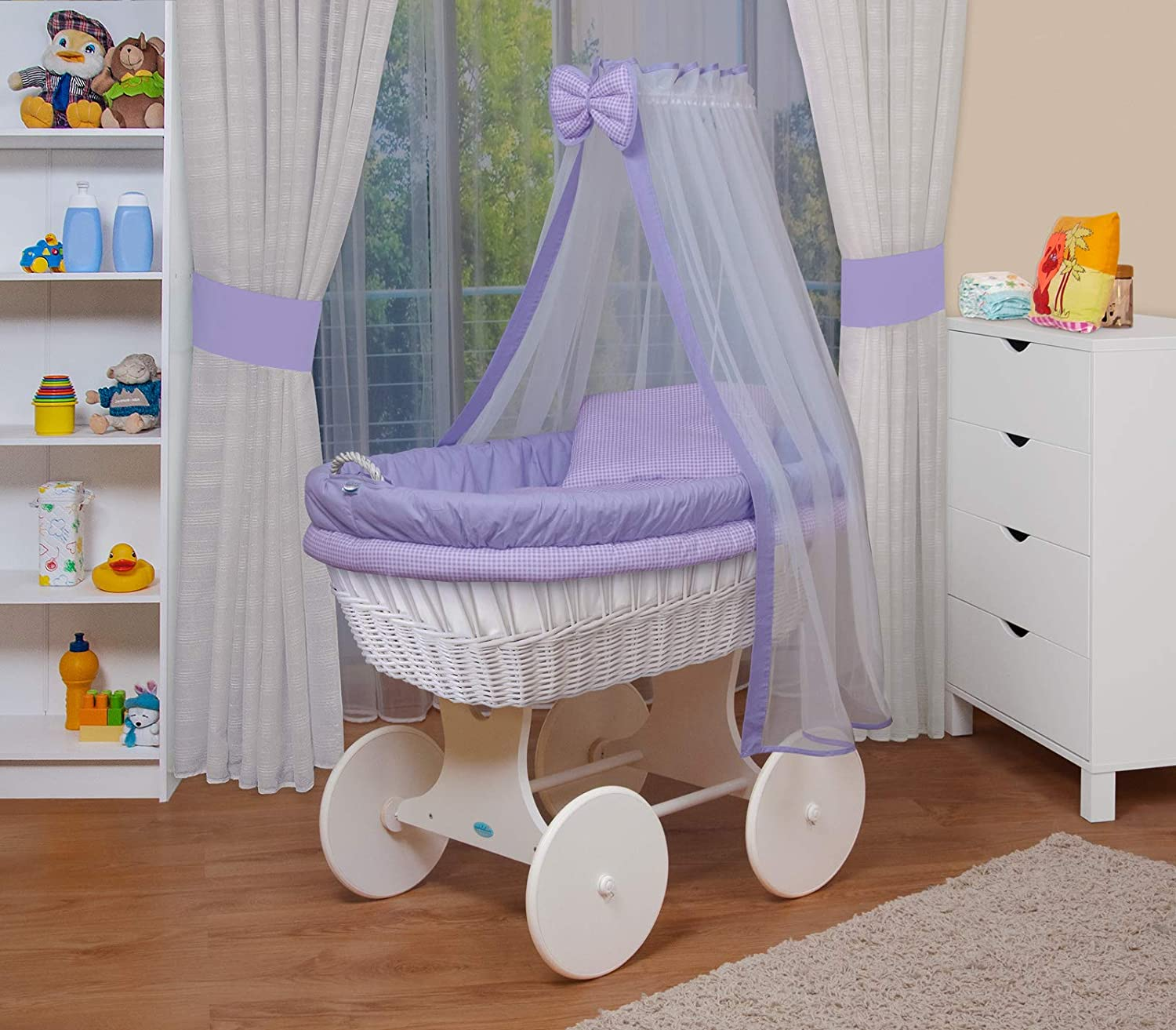 WALDIN Baby wicker cradle, Moses basket,18 models available,white painted stand/wheels,textile colour white