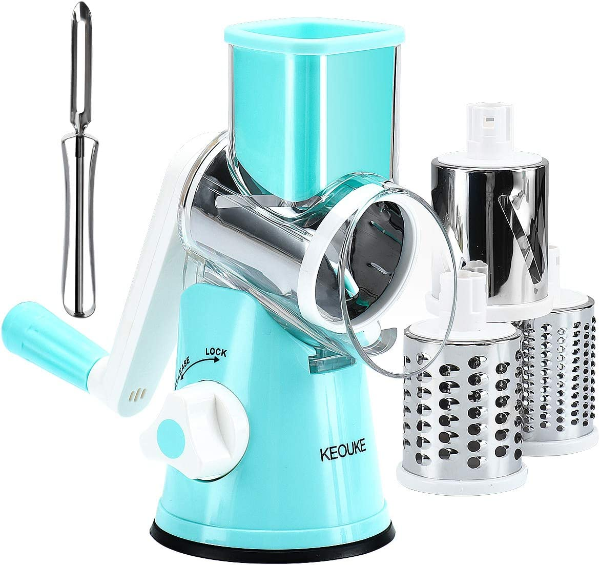 KEOUKE Rotary Cheese Grater Slicer - Round Mandoline Drum Slicer Manual Vegetable Slicer with a Stainless Steel peeler (Blue)
