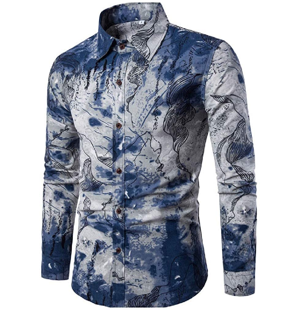 Mfasica Mens Square Collor Long Sleeve Trendly Silm Fit Floral Printed Work Shirt