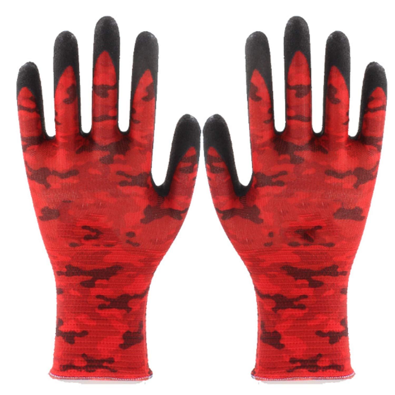 MUMUWU Nitrile Coating Gardening and Work Gloves Soft Garden Gloves Best Unisex Garden Gifts Tools for Gardener (1 Pair) Cut Resistant Working Gloves (Color : Red)