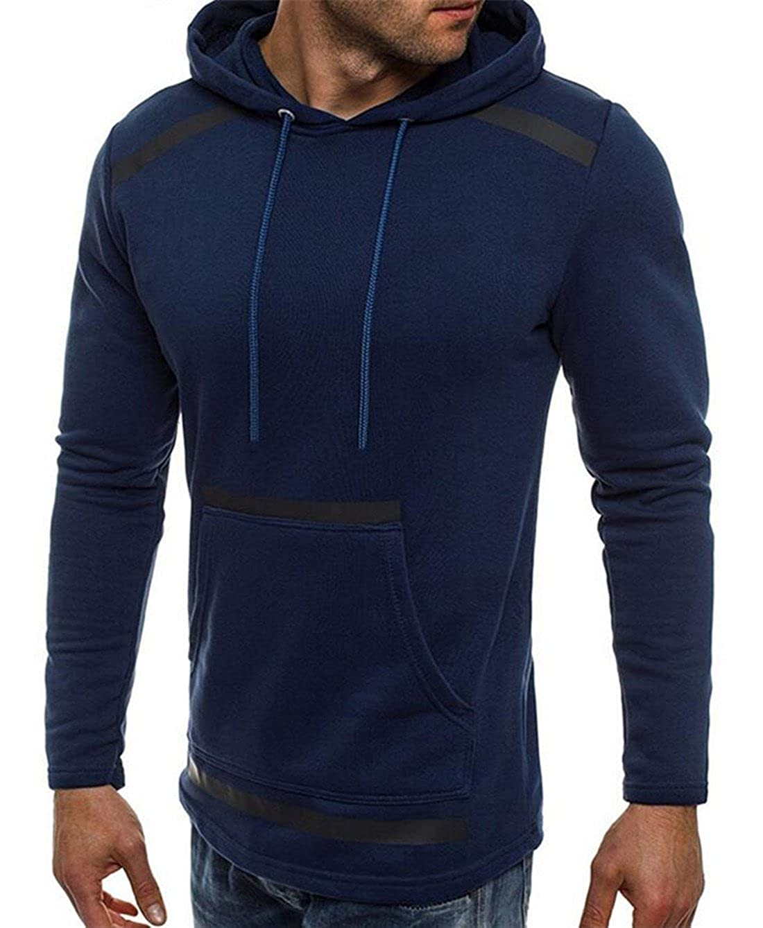 Nanquan Men Casual Patchwork Pockets Front Drawstring Hoodie Slim Fit Sweatshirt