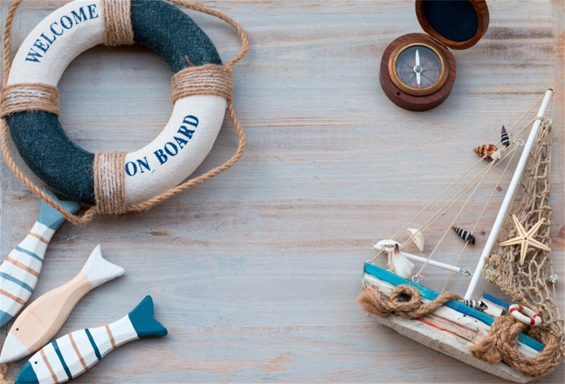 CSFOTO 6x4ft Background for Nautical Themed Birthday Party Photography Backdrop Lifebuoy Compass Sailboat Model on Rustic Wood Sea Marine Child Kid Portrait Photo Studio Props Polyester Wallpaper