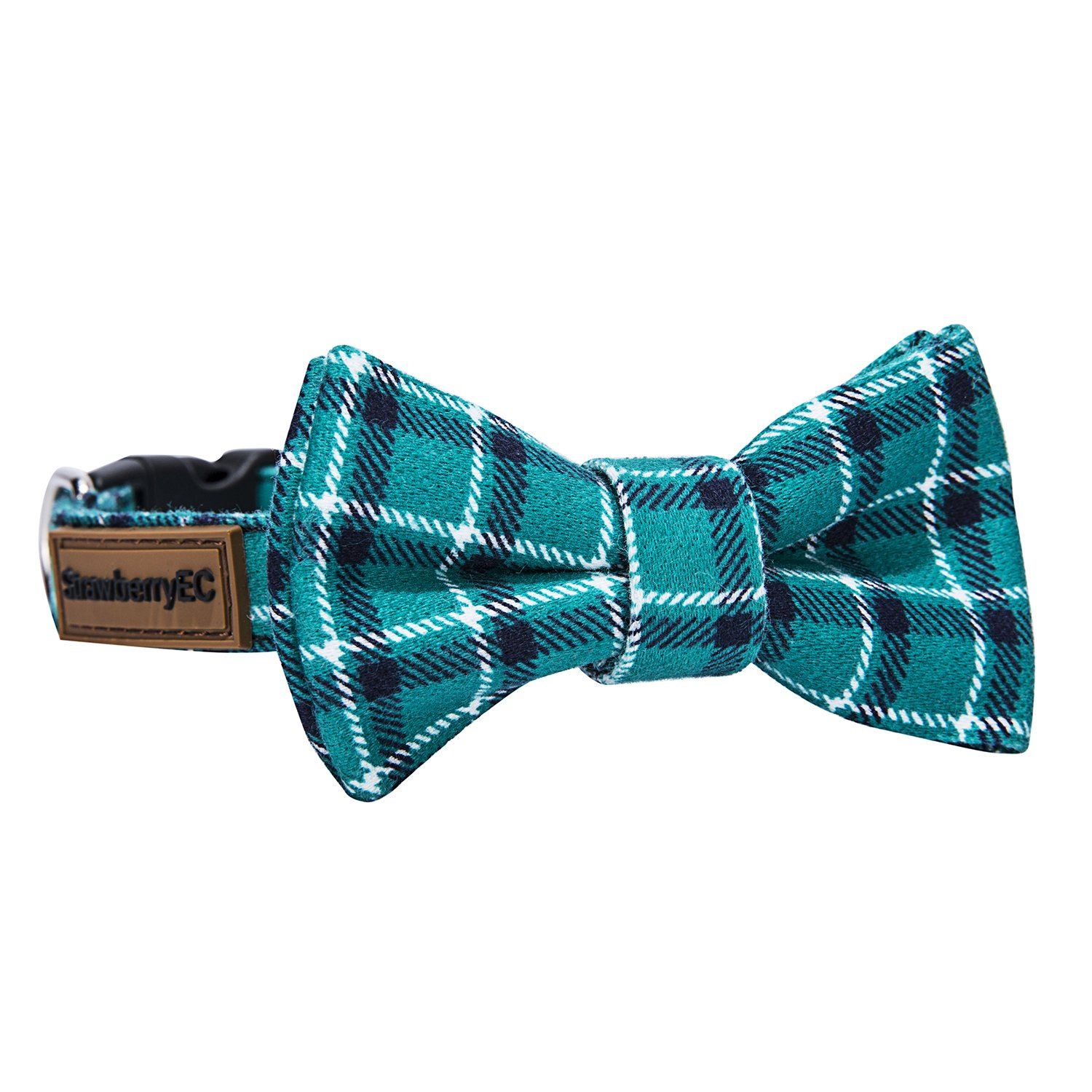Peacock Green Medium Peacock Green Medium Adjustable Collar for Medium Dogs. Cute Unique Plaid of Durable Polyester Fabric Blend. for Male and Female from StawberryEC (M, Peacock Green)