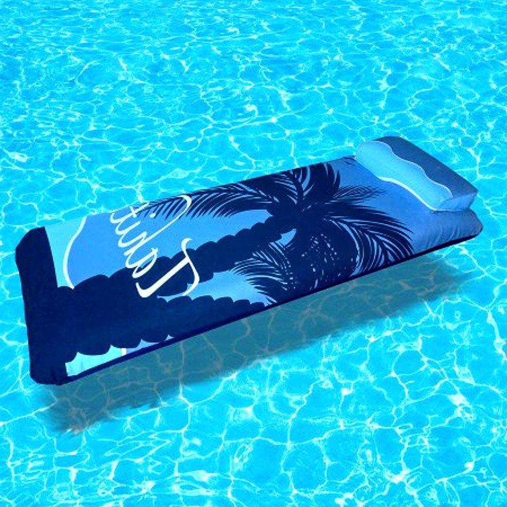 Personal Flotation Device Inflatable Lounger Air Mat, Blue Contemporary Modern Mens Women and Kids Swimming Pool Mattress & E-Book