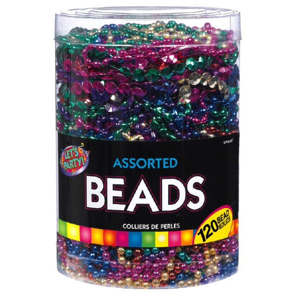 Amscan Beads in Bulk Mardi Gras Bead Necklace, Purple, Blue, Red, Gold, Green, Pink, Rainbow Colors, 100 Count