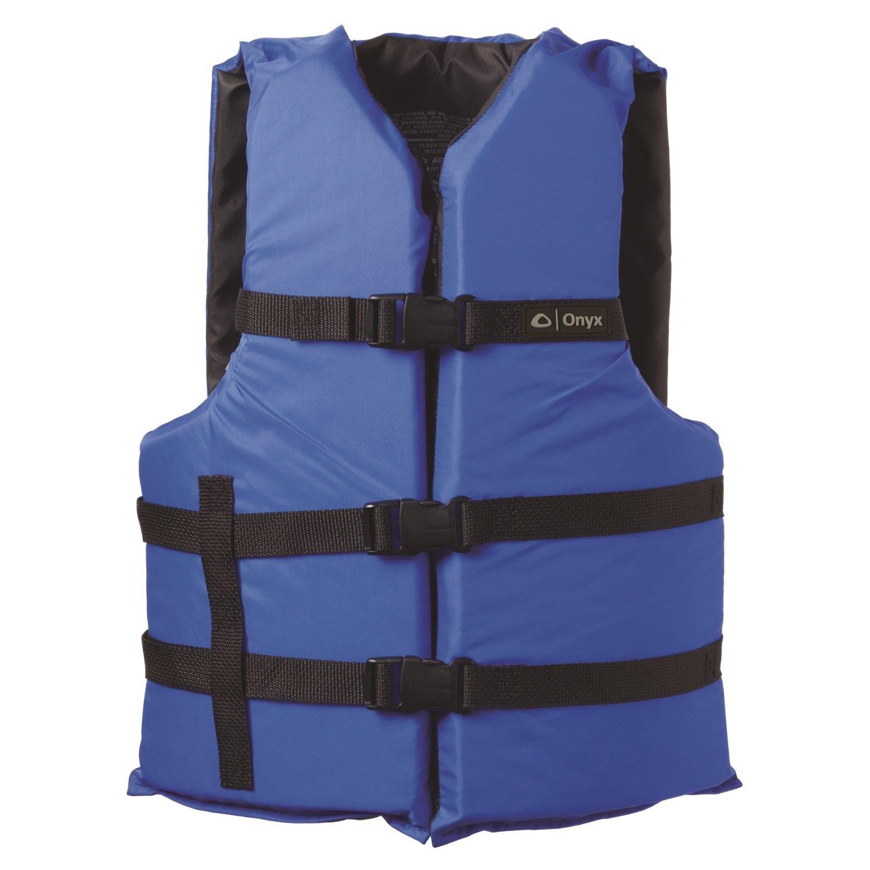 ONYX General Purpose Boating Life Jacket, Adult Oversize Size (40''-60''), Blue