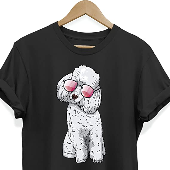 9b64bbbf Weezag Poodle Dog Sunglasses T-Shirt, Funny Gift for Pet Lovers (Black,