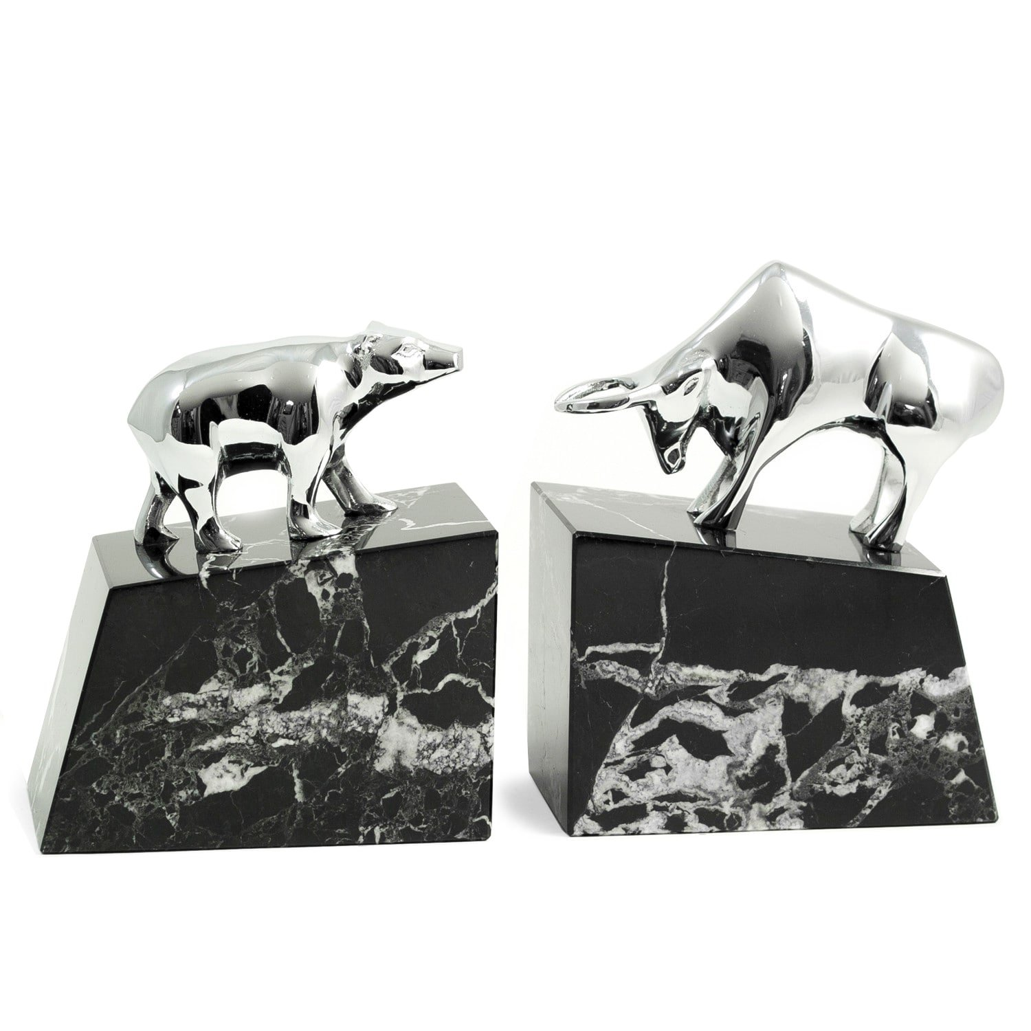 Silver Bull and Bear Bookends