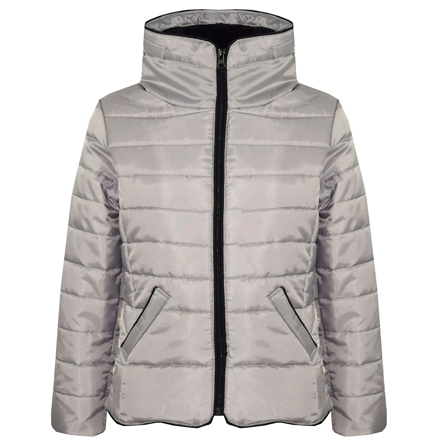A2Z 4 Kids/® Girls Jacket Kids Stylish Padded Puffer Bubble Silver Faux Fur Collar Quilted Warm Thick Coat Jackets Age 5 6 7 8 9 10 11 12 13 Years