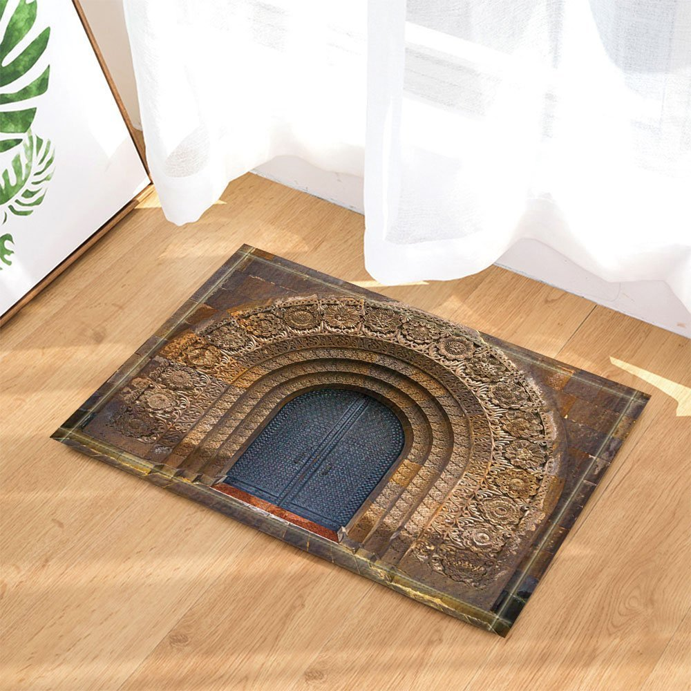 HiSoho The Ancient Gates Decor Door with the Christian Church Armenia Bath Rugs for Bathroom Non-Slip Floor Entryways Outdoor Indoor Front Door Mat Kids Bath Mat 15.7x23.6in Brown