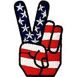 USA Victoire Paix Pièce ' 4,2 x 7,2 cm ' - Écusson brodé Ecussons Imprimés Thermocollants Broderie Sur Vetement Ecusson Catch The Patch